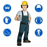 44059754-man-dressed-in-work-clothes-and-safety-at-work-signs